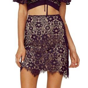 NWT For Love & Lemons Rosemary Mini Skirt in Black